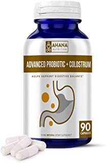 Advanced Probiotic + Colostrum Capsules by Ahana Nutrition – Advanced Probiotic Supplement with Colostrum for Gut Health, ...