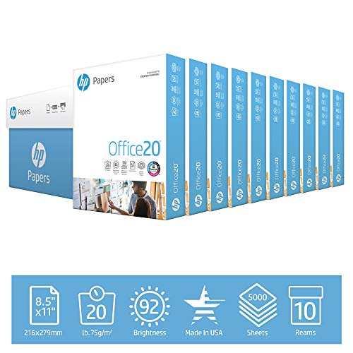 HP Printer Paper 8.5x11 Office 20 lb 10 Ream Case 5000 Sheets 92 Bright Made in USA FSC Certified Copy Paper HP Compatible 112110C