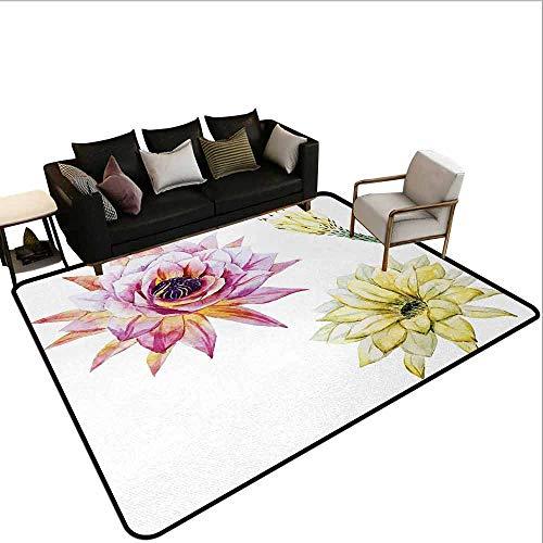 MsShe tapijt Cactus,Soorten Cactus Plant Patroon met bloemen en knoppen Fruit Natuur Kunstwerk Beeld, Groen en Blauw