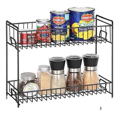 2 Niveles Especiero - Estantería Organizador de Encimera para Especias/Hierbas, Condimentos, Jabones, Botelas, Frascos - Negro …