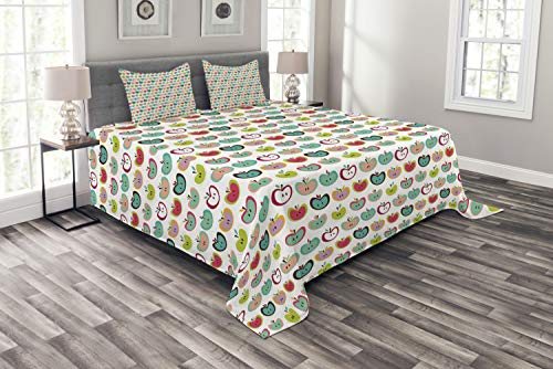 ABAKUHAUS Apfel Tagesdecke Set, Retro Obst Kinder Muster, Set mit Kissenbezügen Sommerdecke, für Doppelbetten 220 x 220 cm, Mehrfarbig