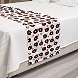 Lunarable Beaver Bed Runner, Repetitive Pattern of Heads on The Background of Maple Leaves Canadian Traits, Decorative Accent Bedding Scarf for Hotels Homes and Guestrooms, Chocolate Coral