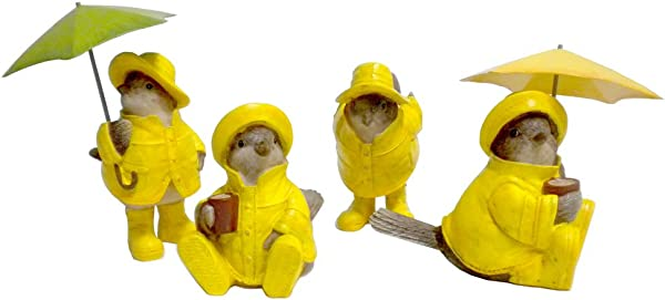 Set Of 4 April Showers Springtime SPARROW Bird Figurine In Yellow Raincoats Umbrellas 5 5 H