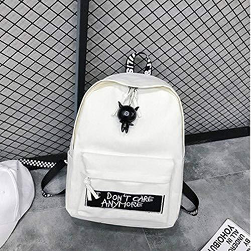 HGDLYB Rucksack Frauen Adrette Leinwand Schwarz Weiß Puppe Anhänger Brief Casual Reise Umhängetasche Harajuku Rucksäcke Weiblich