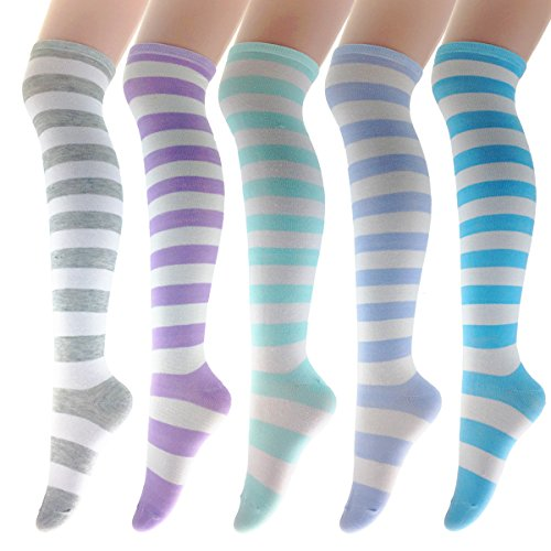 Zmart Boot Socks For Women Girls Knee High Over the Calf Thigh Striped Socks 5 pack-rainbow