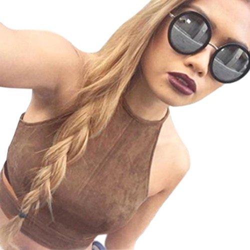 Amlaiworld Frauen Boho Tanktops Bustier BH Weste Crop Top Hemd Bralette Bluse Cami (S, braun)