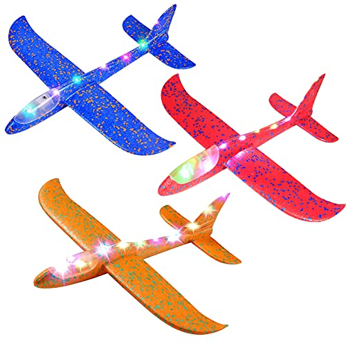 3 Pack Giant Kids Airplane Toy, 18.9' Throwing Foam Plane, LED Light Up Flight Mode Glider Planes,...