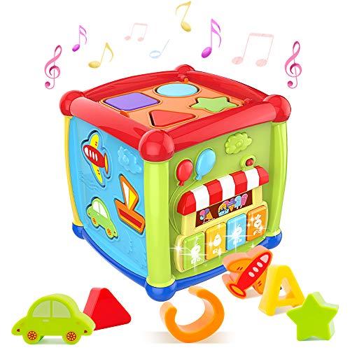HANMUN Motorikwürfel Lernspielzeug 1 Jahre Musikspielzeug - 6 in 1 Multifunktions Baby Aktivität Würfel Spielzeug mit Formsortierer, Rotierende Zahnräder, Geschenk für Babys Kleinkinder ab 12 Monaten