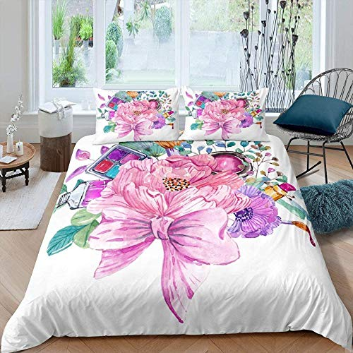 Touoahi Blocks Bed Set Modern Minimalist Plant Hand Painted Colorful Flowers And Leaves Super King (260 X 230 Cm) With Duvet Cover And Pillow Case Polyester-Cotton With Zipper Closure, Soft Mi