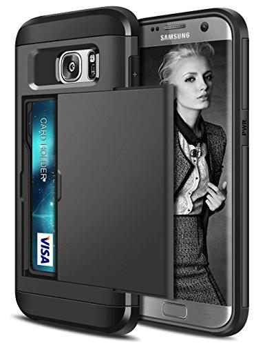 Coolden Funda Samsung Galaxy S7 Edge, Protectora Rigida Compartimento para 2 Tarjetas S7 Edge Ultra Delgado Carcasa de Doble Capa Absorción de Choque Anti-Golpes Caso para Samsung S7 Edge-Negro