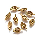 Craftdady 100pcs Golden Leaf Pendant Tibetan Alloy Metal Dangle Charm 14x7mm for Jewelry Craft Making Hole:1.5mm