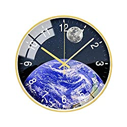 "ANVEC Earth Wall Clock for Living Room,12"" Unique Modern Style Decorative Silent Wall Clocks with Rose Gold Frame, for Man Woman (Earth Clock B)"