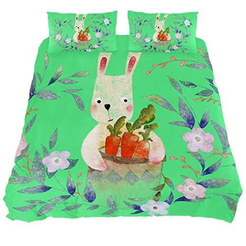 Audrey Brown Bed Sheets Sheet & Pillowcase Sets Mattress Topper Bed Soft Duvet Cover Summer Duvet Printed Duvet Cover Cartoon rabbit on green background Super King
