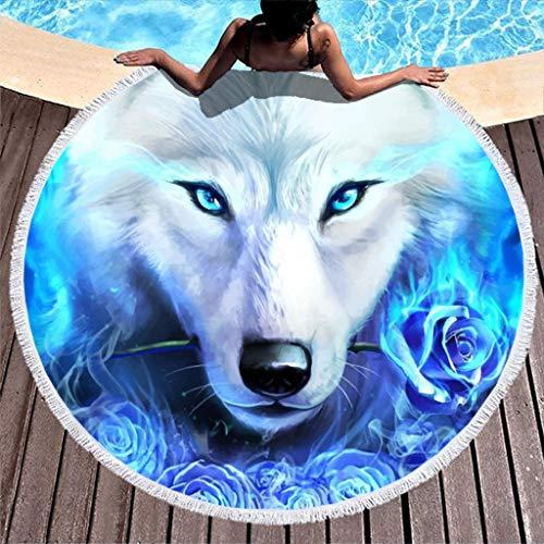Wolf Muster Strandtuch,Yogamatte,Indisches Mandala,Rund,Baumwolle,Tischdecke Strandtuch, runde Yogamatte,Schal,59in Strand Freizeit White 150cm