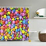 IJNOKM Duschvorhang Candy Buntes, schnell trocknendes wasserdichtes Gewebe Duschvorhang Badezimmer, waschbarer Duschvorhang mit Haken Inneneinrichtung (B) 150 × (H) 180CM