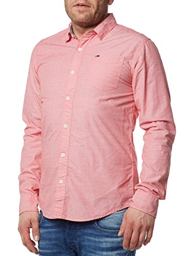Tommy Jeans Herren Solid Lang - Regulär Regular Fit Freizeithemd Rosa (Racing Red 683) XX-Large