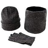 Unisex Adulto Casual Bufanda de punto de nieve y lluvia Gorro de gorro y guantes Set Stretch Hat...