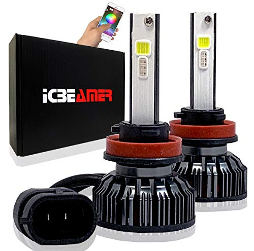 ICBEAMER H11 12V 7200lm COB LED+ RGB Headlight Daytime Running Light Replace Halogen Bulbs Control by Smartphone App