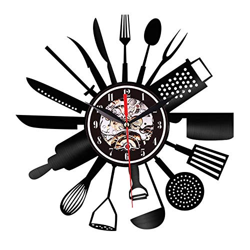 """HYXQYYX 12"""" Kitchen Utensils Knife and Fork Shape Kitchenware Vinyl Record Wall Clock