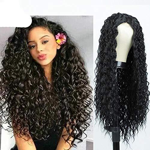 Pelucas delanteras sintéticas Pelucas largas y rizadas para pelucas negras y rojas / rubias para África y América-Rubio platino, 26 pulgadas