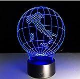 Regalo de vacaciones Italia Tierra Mapa Luz 3D Visual LED Lámpara 7 Color Mushroom USB Dormitorio Lámpara de escritorio pequeña 7 colores que cambian Led Luces de noche Deco