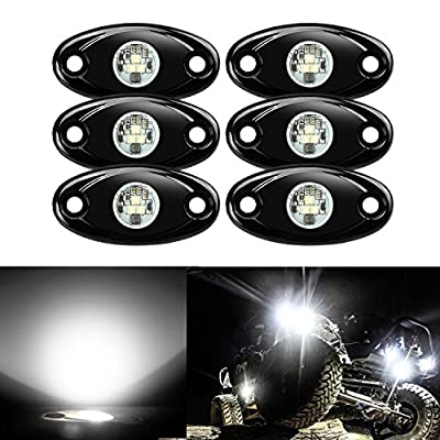 6 Pods LED Rock Lights, Ampper Waterproof LED Neon Underglow Light for Car Truck ATV UTV SUV Offroad Boat Underbody Glow Trail Rig Lamp (White)