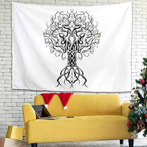 Magiböes Tapestry Viking Tree of Life Roots Print Beach Towels Funny White 230 x 150 cm