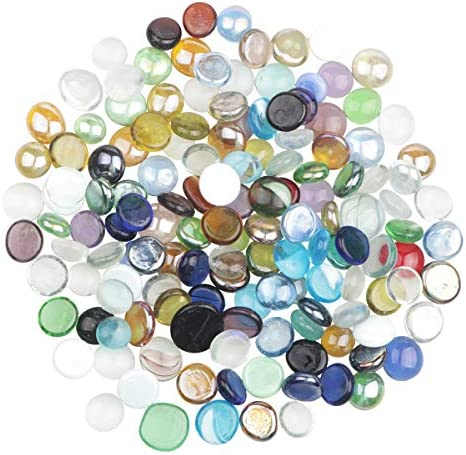 YiYa Mixed Colour Flat Marble Decorative Beads Glass Gems for Home Decoration Vase Filler Fish product image