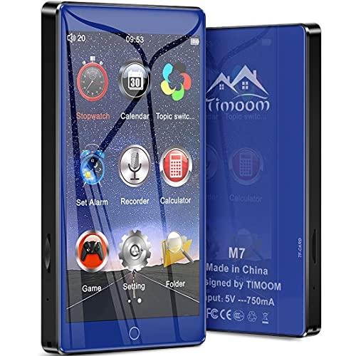 Timoom M7 Lettore MP3 Bluetooth 5.0 Full Touch Schermo da 4.0 ' 16GB MP4 HiFi Suono senza perdita con altoparlante integrato Radio FM Registratore video vocale Cuffie e-book Supporta TF fino a 128 GB