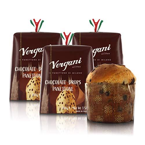 Vergani Panettone Italiano con Pepitas de Chocolate Negro, Formato Mini - 100 gr (Paquete de 3 Piezas)