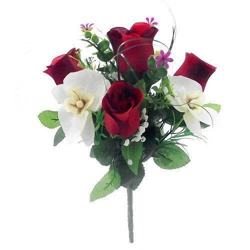 Kunstblume, Rosen und Orchideen, Seide, 30 cm, Orange/cremefarben, Rot & cremefarben, 2 Bunches