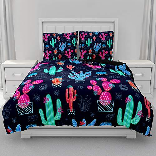 Morbuy Juego de Ropa de Cama 3 Piezas, 3D Juego de Fundas de Edredón Impresión de Cactus, Microfibra Funda Nórdica y 2 Funda de Almohada 80x80cm (Cactus Fresa,220x240cm)