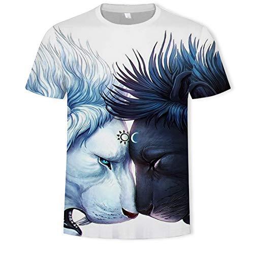 TKWNB Unisex 3D Druckten Sommer-beiläufige Kurze Hülsen-T-Shirts Sommermode 3D Beast King Bedruckte Herren- und Damen-T-Shirt lässige Rundhals-Straßenmännerkleidung-XXL