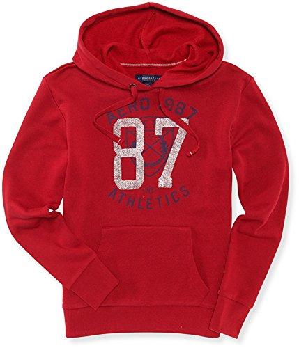 Aeropostale Womens Athletic '87 Hoodie Sweatshirt, red, X-Small