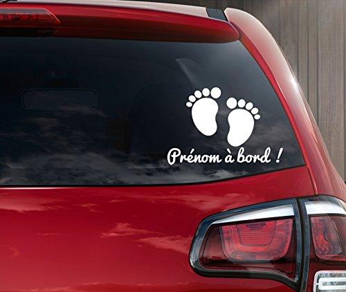 Stickers bébé à bord petit pied personnalisable en ligne avec un prénom