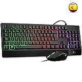 Teclado Gaming Rii RM400 Combo Rainbow Retroiluminación ,Teclado y Ratón con Cable,ratón gaming ,12 teclas multimedia y 19 teclas anti fantasma para Windows/Vista /Linux/Mac  (Teclado Español,Negro)