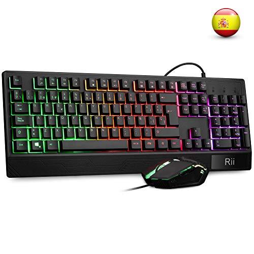 Teclado Gaming Rii RM400 Combo Rainbow Retroiluminacion ,Teclado y Raton con Cable,raton gaming ,12 teclas multimedia y 19 teclas anti fantasma para Windows/Vista /Linux/Mac (Teclado Espanol,Negro)