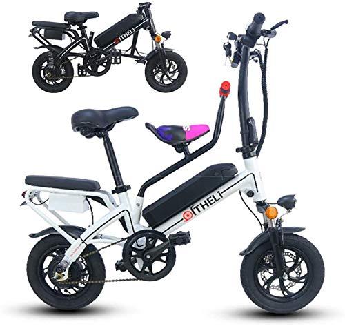 RDJM Bici electrica, 12 '' Bicicleta Plegable eléctrica, E-Bici Ajustable Bastidor de suspensión de Peso Ligero Plegable Completa E-Bici con Pantalla LCD, 350W Motor, 25KM / H for Adultos Ciclismo