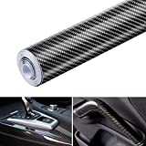 Black 6D Carbon Fiber Vinyl Self Adhesive Film, Wrap Roll Without Bubble, Adapted to The Appearance and The Interior of Motorcycles, Computers, Cars -1ft x 10ft