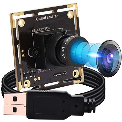 USB Camera Module HD 1280X720@60fps, USB Webcam Global Shutter with AR0144 Image Sensor,Tiny USB Cameras with 3.6mm Lens Industrial UVC Web Cameras Plug and Play for Windows/MAC/Linux/Raspberry Pi
