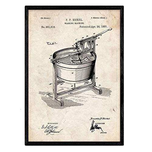 Nacnic Poster con patente de Lavadora. Lámina con diseño de patente antigua en tamaño A3 y con fondo vintage