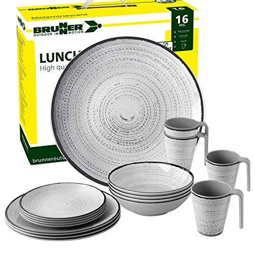 Brunner: Melamin-Geschirr Campinggeschirr (Antislip), 4 Personen (16 Teilig), Tivoli Lunch Box, Grill Und Picknick