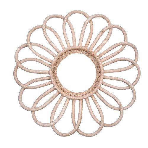 Rotan Spiegel, Vintage Handgemaakte Ronde Spiegel Huisdecoratie & Slaapkamer | Ronde Spiegels voor Opknoping en Wanddecoratie | Geschenken voor Vrouwen & Moeders