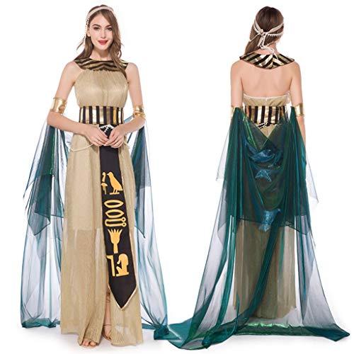 Damen-Halloween-Cosplay-Kleid, mittelalterlicher Vintage-Stil, ägyptische Göttin, Halskette, schulterfrei, schmal, goldfarben