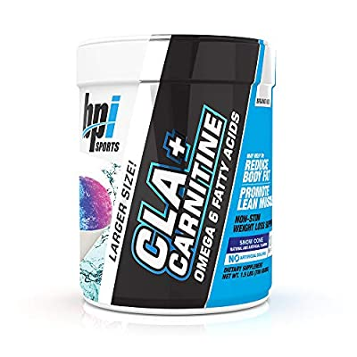 BPI Sports Cla + Carnitine – Conjugated Linoleic Acid – Weight Loss Formula – Metabolism, Performance, Lean Muscle – Caffeine Free – for Men & Women – Snow Cone – 100 Servings – 1.5lbs Larger Size