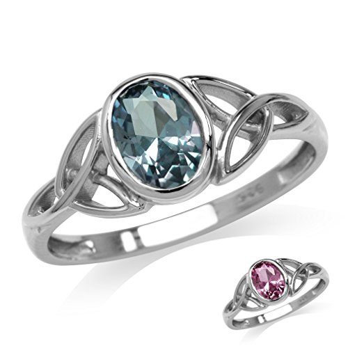 Silvershake Simulated Color Change Alexandrite White Gold Plated 925 Sterling Silver Triquetra Celtic Knot Ring Size 6