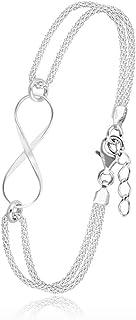 Subalian Bracelet Argent Femme Infini – Bijoux en Argent 925 Extensible 17-20cm avec Le Symbole Infini / Bracelets Avec Bo...