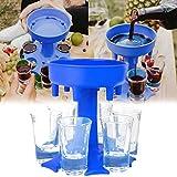 6 Shot Glass Dispenser and Holder (Including 6 Glasses), Shot Glass Dispenser for Filling Liquids, Drinking Games Shot Glasses Dispens Carrier, Cocktail Party, Beer and Wine Separator