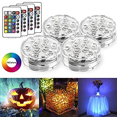 Remote Controlled RGB Submersible LED Lights Color Changing AAA Battery Operated LED Decorative Lights for Lighting Up Vase, Bowl, Fish Tank, Wedding, Centerpiece, Halloween, Party Lights