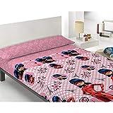 Zag Juego de sábanas Infantil Lady Bug - 100% Algodón - Color Rosa - Cama 105 cm